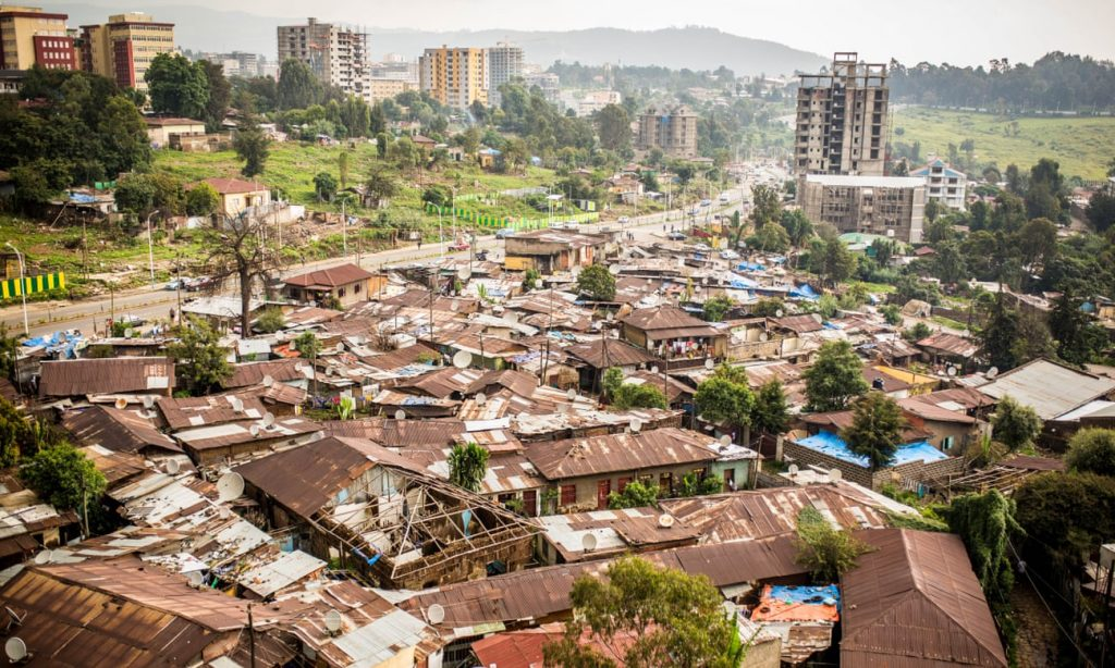 A slum in the city of Addis Ababa